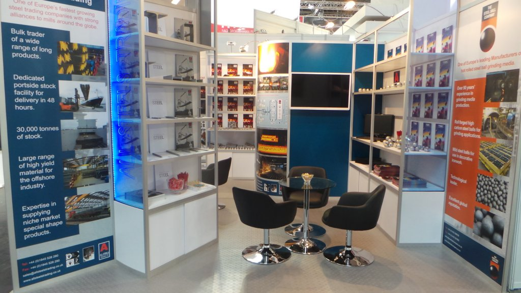 All Steels Trading's exhibition stand at the International Tube and Wire 2014 fairground at Messe Düsseldorf.